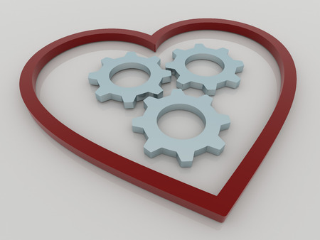 health symbols metaphors: Abstract 3D design of heart with three gears or cogwheels. Rendered against a white background with shadows and reflections.