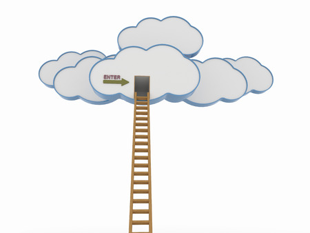 Abstract 3D view of clouds with wooden ladder on a white background and an enter message on the side of the door. Cloud Computing concept