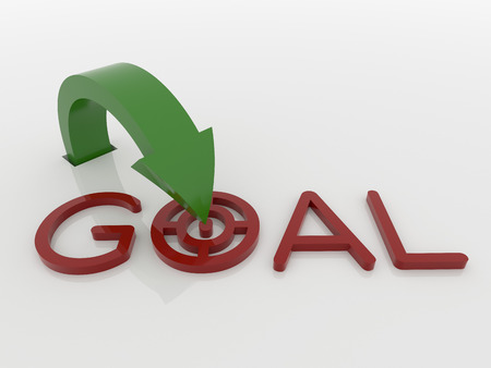 Abstract image of a curved arrow out of the ground jumping to the goal target. Rendered in green and red on a reflective white floor. Imagens
