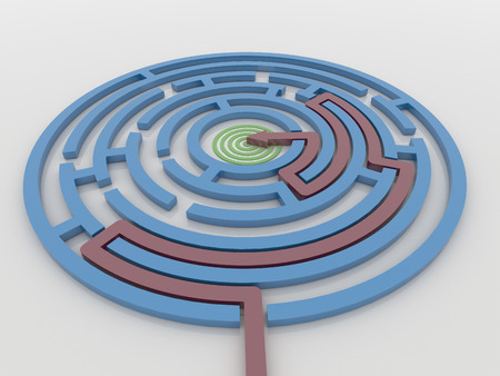 Maze Labyrinth 3D Render with Red Arrow from outside to center target. Render on a reflective white floor. Problem solving concept Imagens