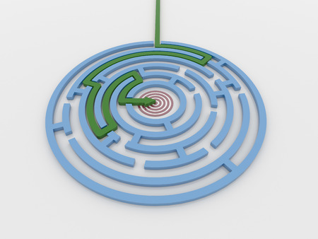 Maze labyrinth 3D render with green arrow from outside to center target. Render on a reflective white floor. Problem solving concept