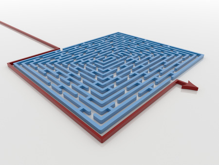 Smart problem solving concept of a red arrow around a blue maze on a white reflective background perspective view.
