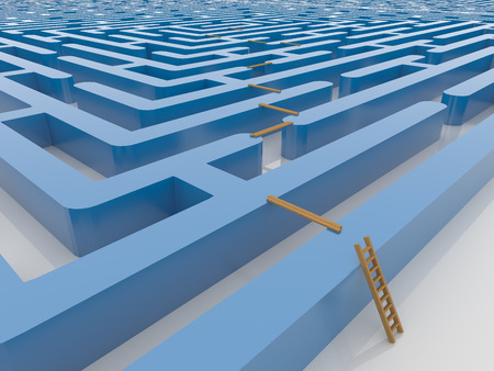 Infinite maze labyrinth 3D render with wooden ladder and planking. Render on a reflective white floor. Smart solution concept