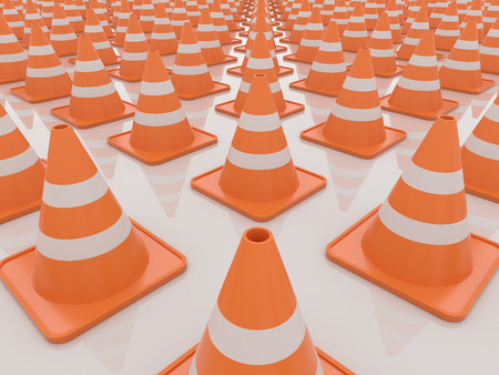 Endless traffic cones 3D Render. Render on a reflective white floor. Under construction and problem concept