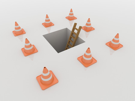 Traffic cones around a hole in the ground with ladder, 3D Render on a reflective white floor. Under construction and problem concept Imagens