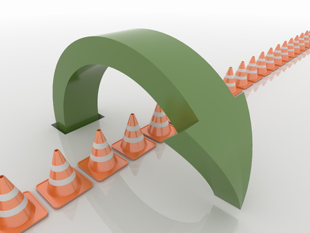 Abstract image of a curved arrow out of the ground and jumping over traffic cones. Rendered in green on a reflective white floor. Problem solving concept.