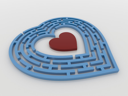 finding love: A blue maze heart with a red heart inside the target. 3D Render on a reflective white floor. Finding love concept. Stock Photo