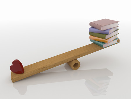 Abstract 3D design of heart and a stack of books balancing on a wooden seesaw. Rendered against a white background, with shadows and reflections.