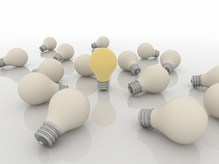 Group of light bulbs, one active. Render on a reflective white floor.  Idea and Solution Concept Imagens