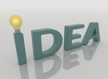 Idea text lamp with light bulb. Closeup perspective render in blue green on a reflective white floor.  Solution concept background.