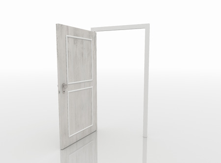 Opened door isolated on white background and reflective white floor.