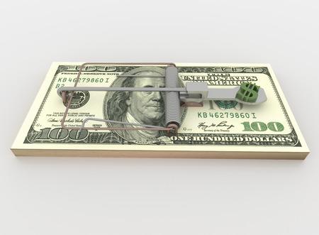 piege souris: Symbolique rendu illustration d'un pi�ge � souris fait avec un paquet de billet de 100 dollars avec le symbole de l'argent comme app�t, isol� sur un fond blanc.