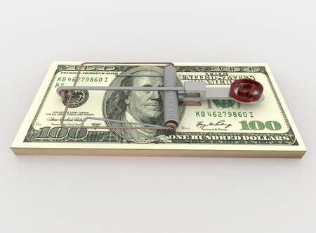 mouse trap: Symbolic render illustration of a mouse trap made with a bundle of 100 dollar bill with e-mail symbol as bait, isolated on a white background.