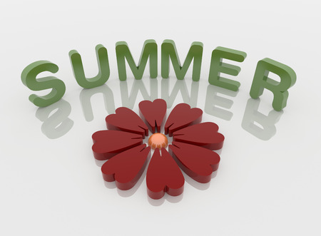 Red Flower and green summer word on  a reflective white floor, 3D illustration