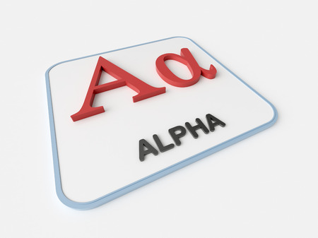 Alpha greek symbol on white display board. Science and mathematical concept