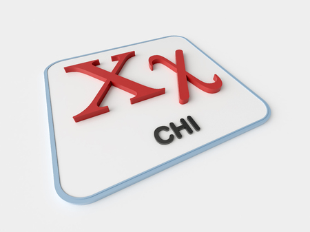 chi: Chi greek symbol on white display board. Science and mathematical concept