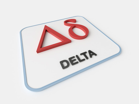 Delta greek symbol on white display board. Science and mathematical concept