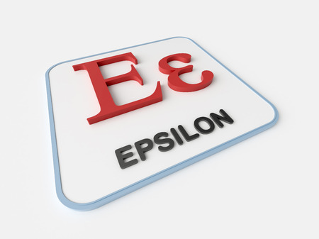 mathematical operation: Epsilon greek symbol on white display board. Science and mathematical concept