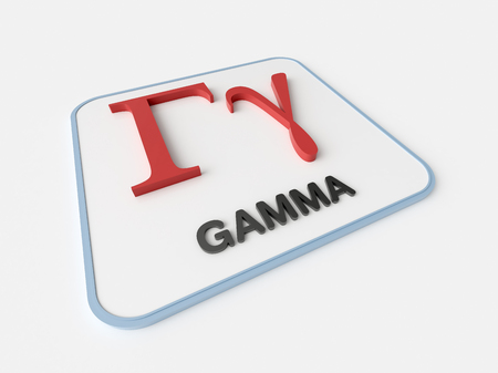 gamma: Gamma greek symbol on white display board. Science and mathematical concept