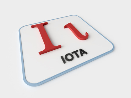 Iota greek symbol on white display board. Science and mathematical concept