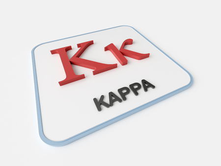 Kappa greek symbol on white display board. Science and mathematical concept