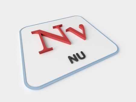 nu: Nu greek symbol on white display board. Science and mathematical concept