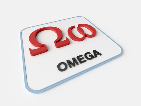 Omega greek symbol on white display board. Science and mathematical concept Stock Photo