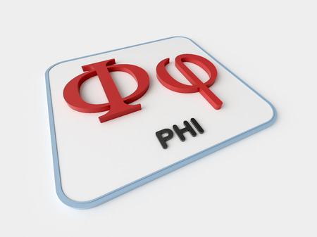 Phi greek symbol on white display board. Science and mathematical concept