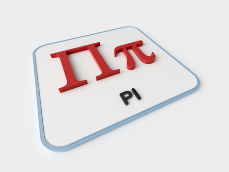 Pi greek symbol on white display board. Science and mathematical concept