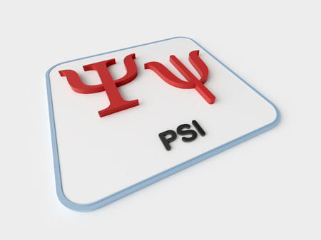 Psi greek symbol on white display board. Science and mathematical concept