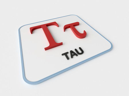 Tau greek symbol on white display board. Science and mathematical concept