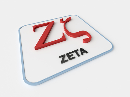Zeta greek symbol on white display board. Science and mathematical concept