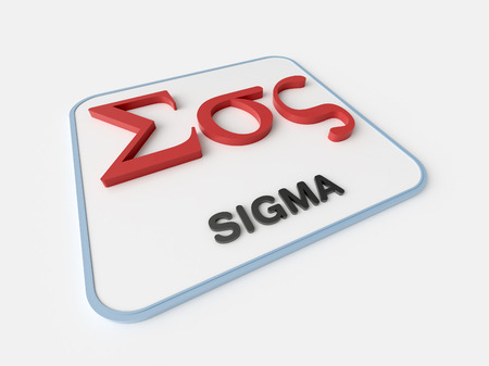 Sigma greek symbol on white display board. Science and mathematical concept Imagens