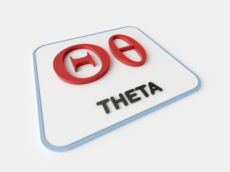Theta greek symbol on white display board. Science and mathematical concept