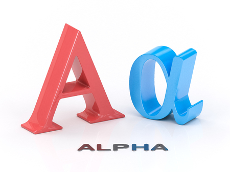 alpha: Alpha greek symbol on white background. Science and mathematical concept Stock Photo