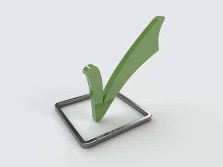 Closeup view of a green check mark and a metallic check box isolated on a white background