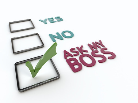Closeup view of a humorous checklist with yes, no and ask my boss items with green checkmark on a white background
