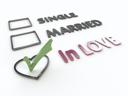 Three items survey with  marital status, green checkmark on heart option box
