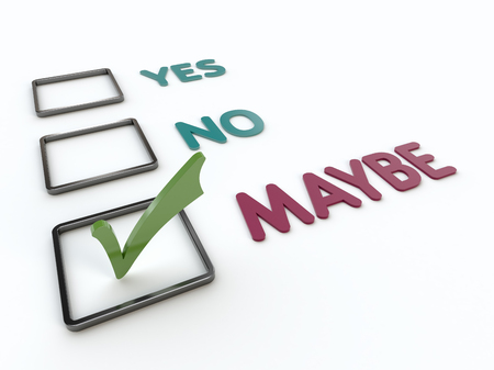 maybe: Closeup view of a checklist with yes, no and maybe items with green checkmark on a white background Stock Photo