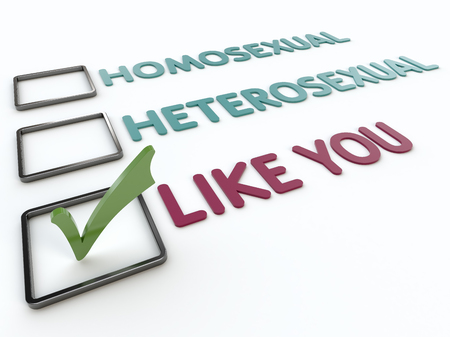 Closeup view of a humorous gender checklist with green checkmark on a white background Imagens