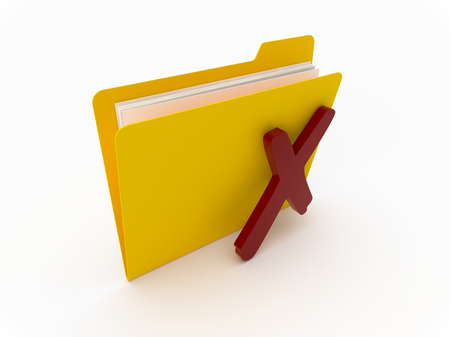 3D Yellow folder with red cross on a white background