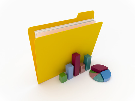 3D Yellow folder with graphics and chart on a white background Imagens