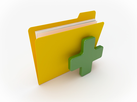 3D Yellow folder with green cross on a white background Imagens