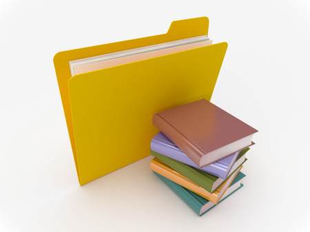 3D Yellow folder with book stack on a white background