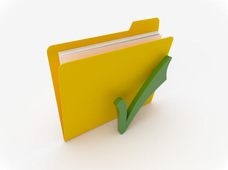 3D Yellow folder with green checkmark on  a white background