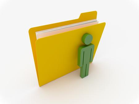 figura humana: Carpeta amarilla 3D con persona verde sobre un fondo blanco
