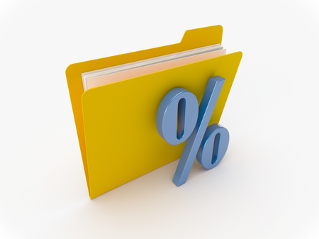 3D Yellow folder with blue percent sign on a white background