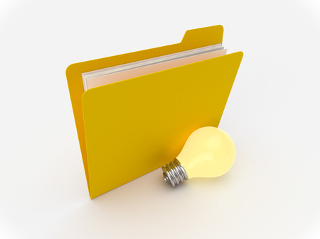 3D Yellow folder with lightbulb  a white background, idea concept Imagens