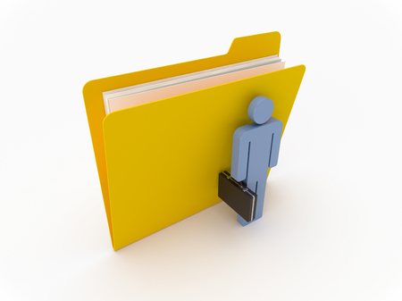 3D Yellow folder with blue businessman on a white background Imagens
