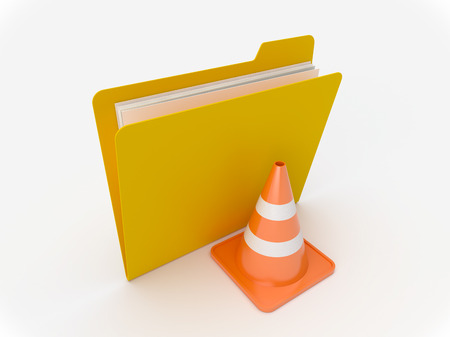 3D Yellow folder with traffic cone on a white background